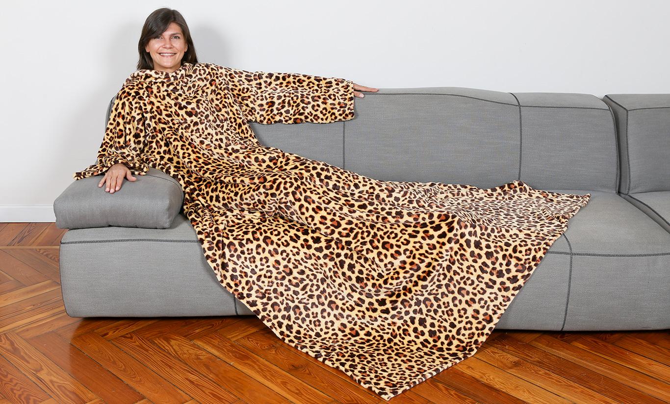 Coperta Con Le Maniche Leopardata.Kanguru Deluxe Leopard Kanguru